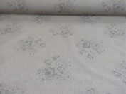 Vintage Linen Rambling Rose Beige Grey Designer Material Sewing Upholstery Curtain Craft Fabric