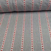 Verbier Hearts Gingham Grey, White & Red Cotton Curtain Designer Material Sewing Upholstery Curtain Craft Fabric