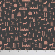 Soimoi 150cm Wide 2-Way Stretch UAE Theme Architectural Print 180 GSM Velvet Fabric By The Metre - Dark Grey