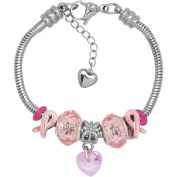 Charm Bracelet With Charms For Women, Stainless Steel, Fits Pandora Jewellery, Pink Awareness Ribbon 2016, 7.5 Inch
