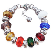 Teens Charm Bracelet With Charms, Stainless Steel, Fits Pandora Jewellery, Rainbow Facets, 7 Inch