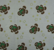 Green Gold and Brown Gingerbread Men - 100% Christmas Cotton on Silver GreyPer Metre