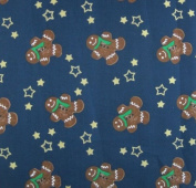 Green Gold and Brown Gingerbread Men - 100% Christmas Cotton on Festive Navy Blue Per Metre