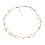 Simply Gold Triple-Strand Beaded Anklet Bracelet in 14kt Three Tone Gold