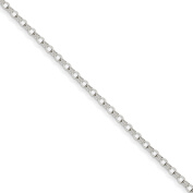 """Roy Rose Jewellery 14K White Gold 3mm Solid Double Link Charm Bracelet ~ Length 8"""" inches"""