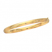 10k Real Yellow Gold Engraved Flex Bangle Bracelet 18cm
