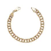 10k Yellow Gold Lightweight Hollow Triple Link Charm Bracelet for Women and Girls