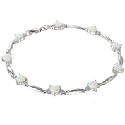 1.00 CT Heart 5MM Created Opal and Diamond Sterling Silver Bracelet