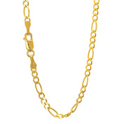 """10k Solid Yellow Gold 2.6 mm Figaro Chain Bracelet 7"""""""