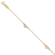 Roy Rose Jewellery 14K Tri-Colour Gold Puffed Heart Bracelet ~ Length 18cm inches