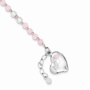 Sterling Silver 4mm Pearl and Rose Quartz Childs Heart Bracelet