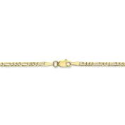 7 Inch 10k Yellow Gold 2.2 mm Figaro Link Chain Bracelet - 7 Inch