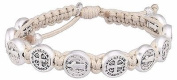 Handwoven BENEDICTINE BLESSING BRACELET with Medal Charms, by My Saint My Hero - Silver Tone on Silver