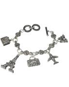 Paris Eiffel Tower Aeroplane Travel Theme Marquise Toggle Bracelet by Jewellery Nexus