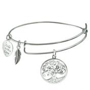Qina C Sterling Silver Clear Rhinestone Family Tree Heart Leaf Charm Adjustable Wire Bangle Bracelet