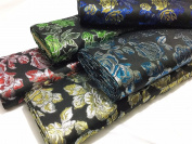 Metallic Black Brocade ROSES Fabric Jackets/ Waistcoats/Cushions/Curtains CF313