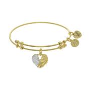 Angelica Yellow Tone Brass 18cm CZ Heart With Angel Wings Bangle Bracelet