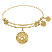 """Yellow Gold-Plated Brass Expandable Bangle with """"Claddagh Love And Friendship"""" Symbol"""