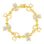 Cat Link TennisBracelet with Diamond in 14kt Yellow Gold Flashed & Sterling Silver-Plated Brass