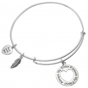 Sterling Silver Always My Sister Forever My Friend Love Heart Feather Dangle Charm Adjustable Wire Bangle Bracelet