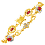 2 3/8 ct Created Ruby Tennis Bracelet with Diamond in 14kt Yellow Gold Flashed & Sterling Silver-Plated Brass