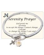 Serenity Prayer Engraved Cross & Mustard Seed Charm Stretch Bracelet by Jewellery Nexus