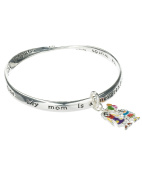 Mother & Daughter Happiness Charm Engraved Bangle Bracelet with Inspirational Card by Jewellery Nexus