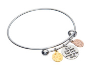 Don't Look Back That's Not Where You're Going Inspirational Adjustable Charm Antique Brushed Bangle