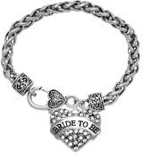 """Bride To Be"" Crystal Heart Bracelet, Safe-Nickel, Lead, & Cadmium Free!"