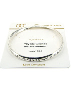 Inspirational Prayer By His Wounds We are Healed Isaiah 53:5 Bangle Bracelet by Jewellery Nexus