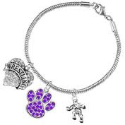 Wrestling Jewellery, Purple Crystal Paw Jewellery, ©2015 Hypoallergenic Safe-Nickel, Lead And Cadmium Free!