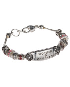 Silver-tone Mother & Daughter Charm Designer Bracelet with Heart Lobster Claw by Jewellery Nexus