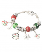 Snowman Santa Clause It's Christmas Snow Flake Charm Bracelet by Jewellery Nexus