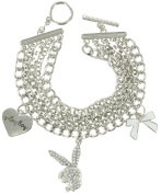 Silver Tone Heart Bow Toggle Charm Bracelet Licenced Playboy Bunny