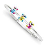 Sterling Silver Enamelled Children's Teddy Bear Adjustable Bangle