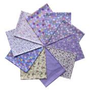 Grannycrafts 10pcs 40x50cm Fat Quarters Top Cotton Printed Craft Fabric Bundle Squares Patchwork Lint Print Cloth Fabric Tissue DIY Sewing Scrapbooking Quilting Purple Series