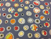 Jane Makower Cotton Dress Fabrics – Seaside Collection - Smiley Faces B68