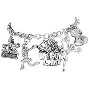 """Cheerleader"" 5 Charm Bracelet, Safe-Hypoallergenic, Nickel Free"