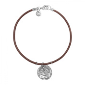 Hammered Heart Charm Bracelet in Sterling Silver and Leather