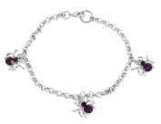 Sparkle Spiders Purple Rhinestone Spider Charm Bracelet - By Ganz