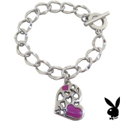 Playboy Bracelet Heart Bunny Charm Pink Enamel Toggle Platinum Plated Gift RARE