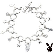 Playboy Bracelet Bunny Charm Stars Crystals Toggle Platinum Plated Playmate Gift