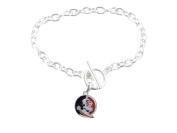 Florida State Seminoles Iridescent Silver Toggle Garnet Gold Charm Bracelet Jewellery FSU.