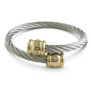 Twisted Women's Stainless Steel and Gold Cuff Bracelet With Stones