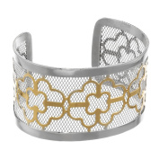 Metro Jewellery Stainless Steel 40MM Floral Cuff Bracelet with Gold Ion Plating
