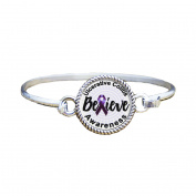 Ulcerative Colitis Awareness Believe Silver Plated Bracelet Jewellery
