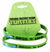"""Teenage Mutant Ninja Turtles """"Bros 4 Life"""" Green Rubber Bracelet 2-Pack"""