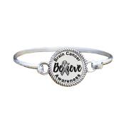 Brain Cancer Awareness Believe Silver Plated Bracelet Jewellery