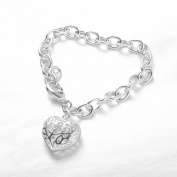 Bracelet Silver Plated Fashion Jewellery For Men/Women Hollow Out The Stereo Hearts Crude Bracelets Bangle Bands Wristband H269