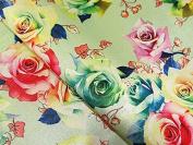 Floral Digital Print Lurex Woven Brocade Dress Fabric Mint Green - per metre